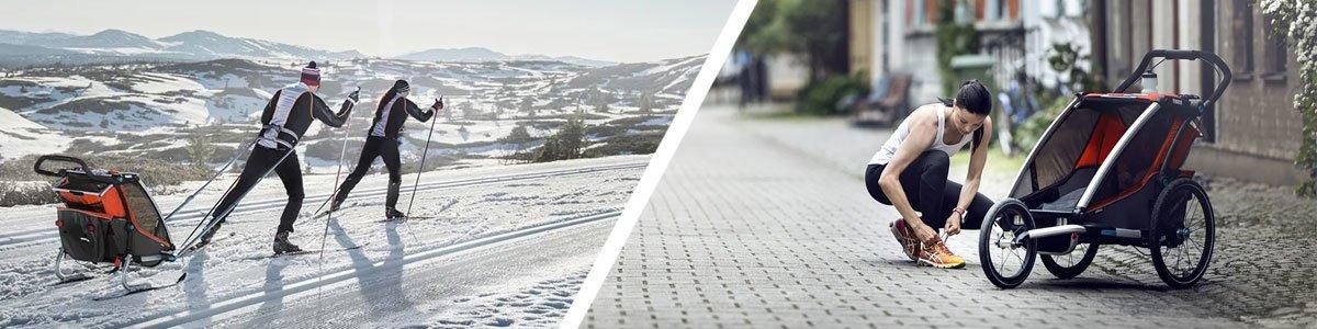 cykelvagn för skidåkning och löpning