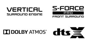 Dolby Atmos, Vertical Surround Engine, S-force Pro Surround, DTSX